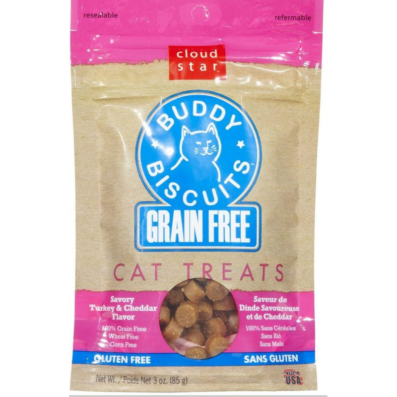 Cloud Star Buddy Biscuits Grain Free Turkey and Cheddar Cat Treats 3-oz