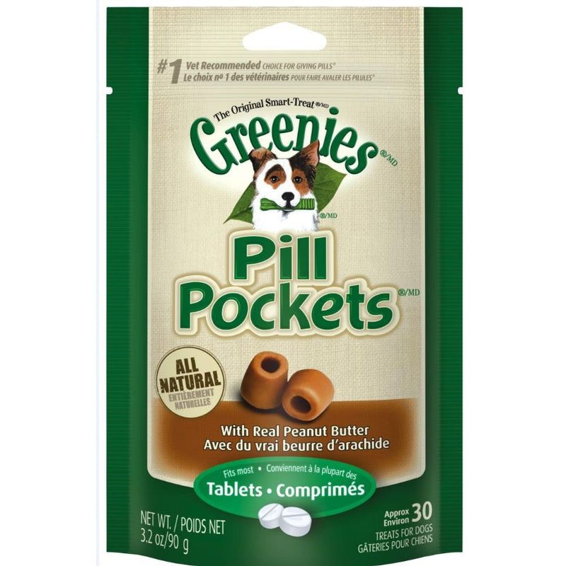Greenies Pill Pockets Canine Peanut Butter Dog Treats For tablets: 3.2-oz, 30-count