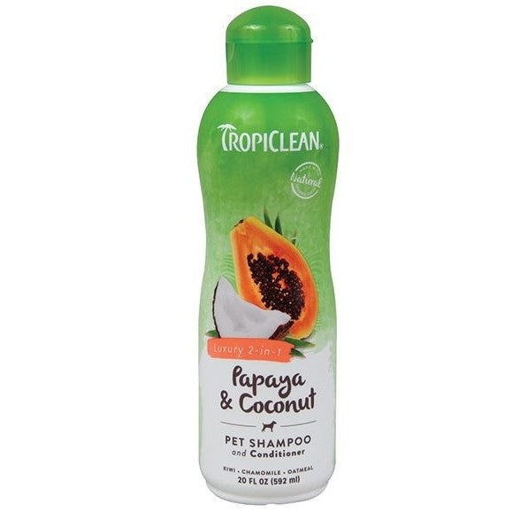 Tropiclean Papaya Plus 2 in 1 Pet Shampoo 20 oz