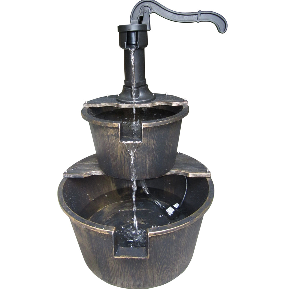 Alpine Corporation Two Tier Barrel And Pump Bronze Fountain