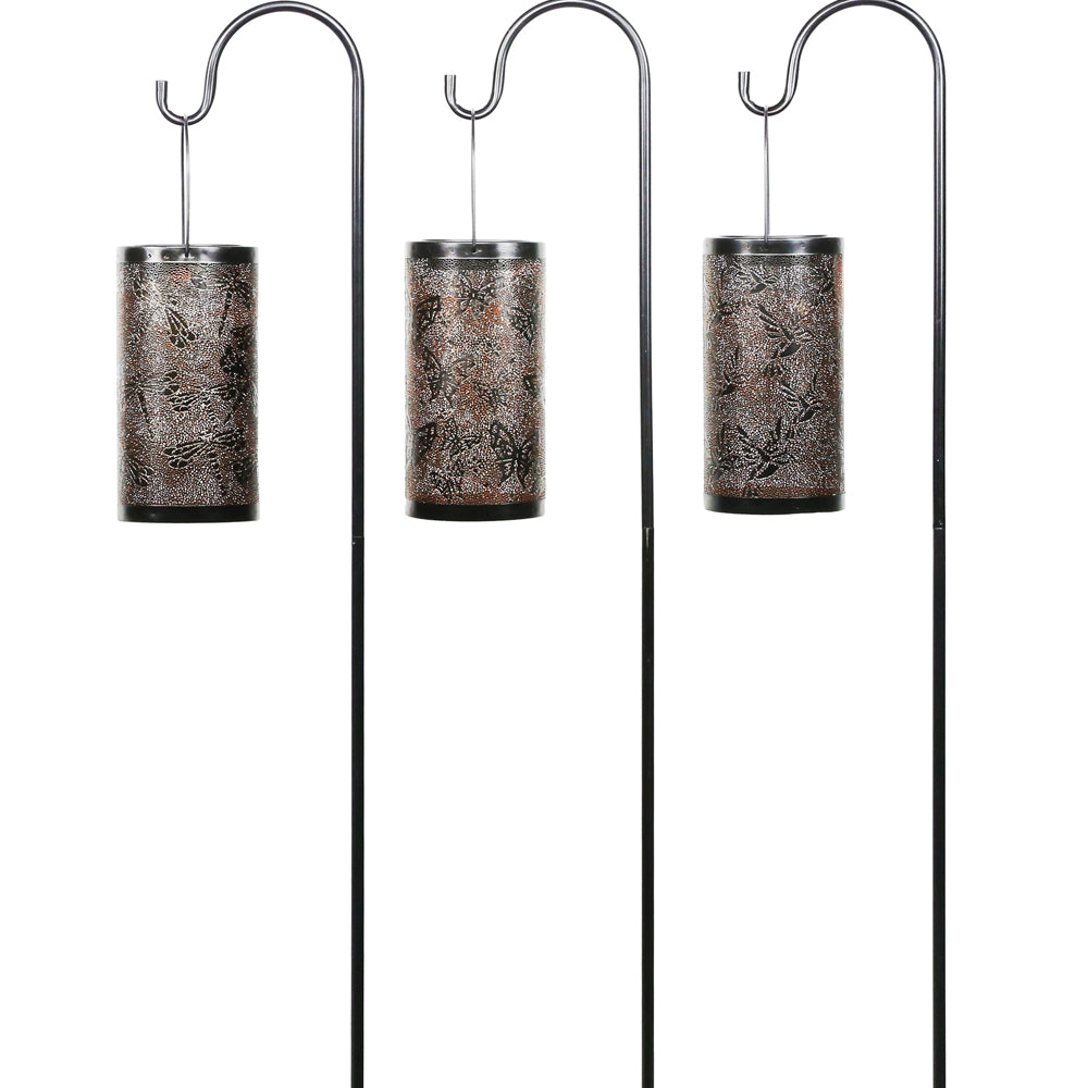 Alpine Corporation Solar Bronze Metal Laser Cut Lanterns With Shepherds Hook