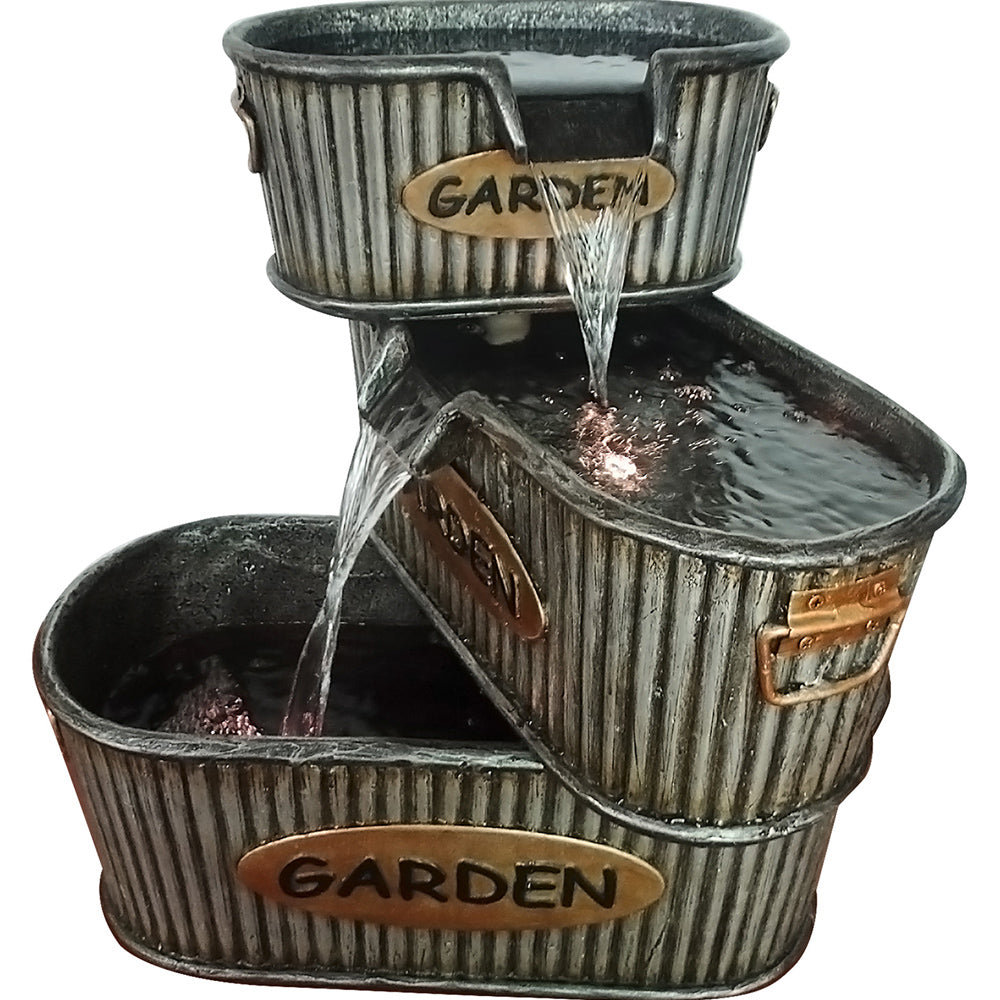 Alpine Corporation Old Fashioned 3 Tier Garden Tin Fountain