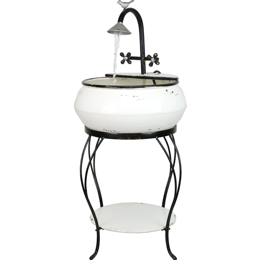 Alpine Corporation Outdoor Vintage Sink Metal Fountain And Stand