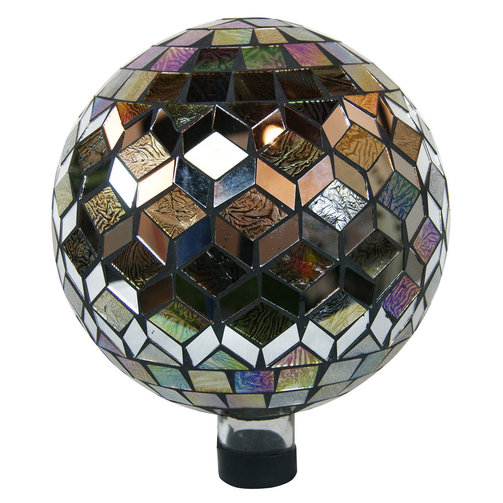 Alpine Corporation Silver And Animal Print Mosaic Gazing Globe
