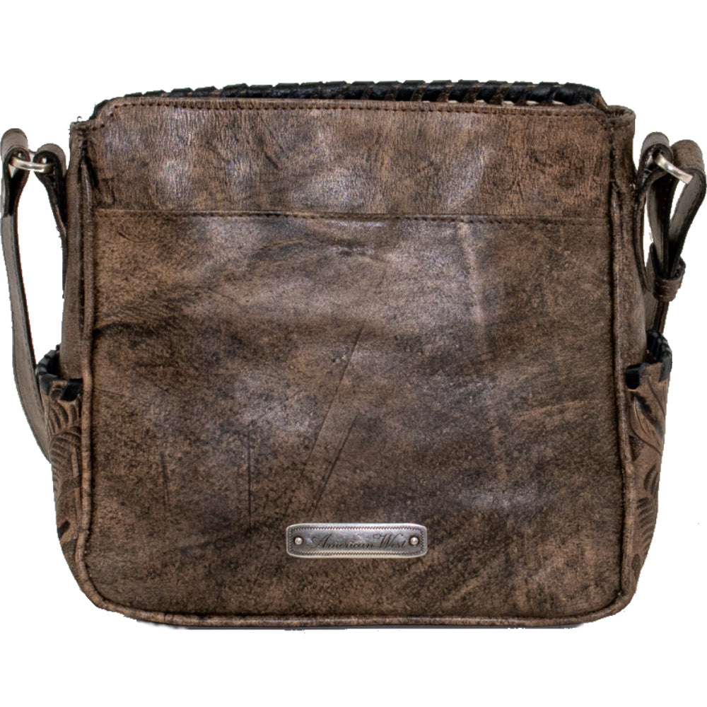 American West Gypsy Patch All Access Crossbody Bag Distressed Charcoal