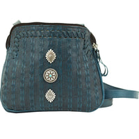 American West Basket Weave Crossbody Dark Turquoise