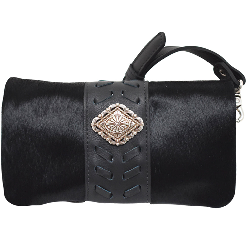 American West Foldover Crossbody Black Hair-On