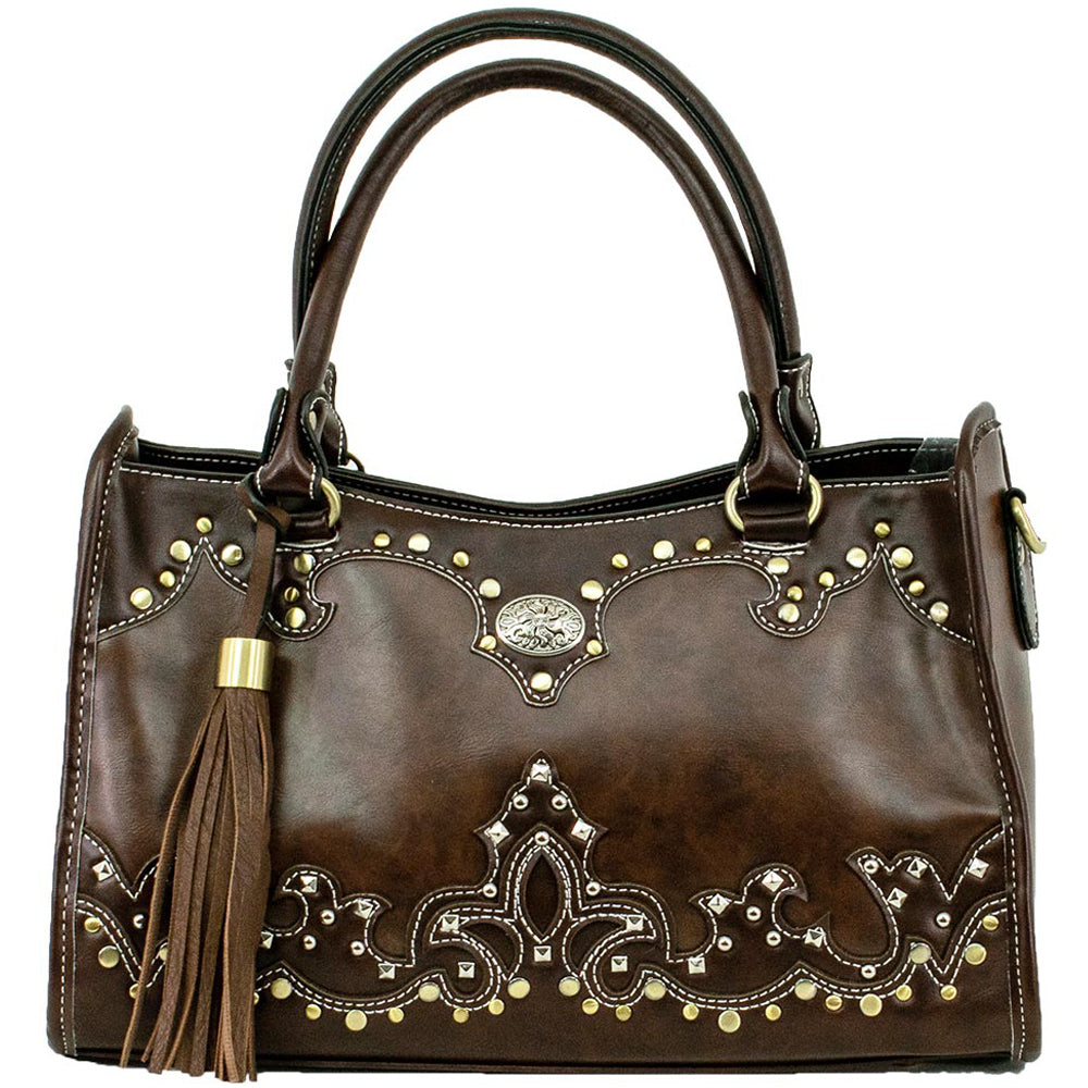 American West/Bandana Handbag With A Concho Brown