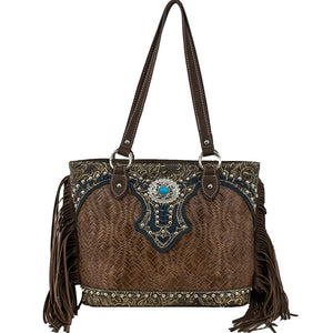 American West/Bandana Zip-Top Tote With Fringe Brown