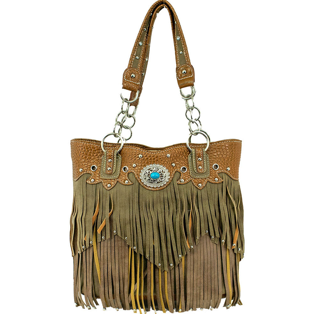 American West/Bandana Handbag With Fringe Tan