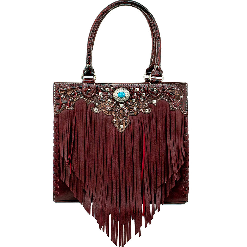 American West/Bandana Zip-Top Tote With Fringe Burgandy