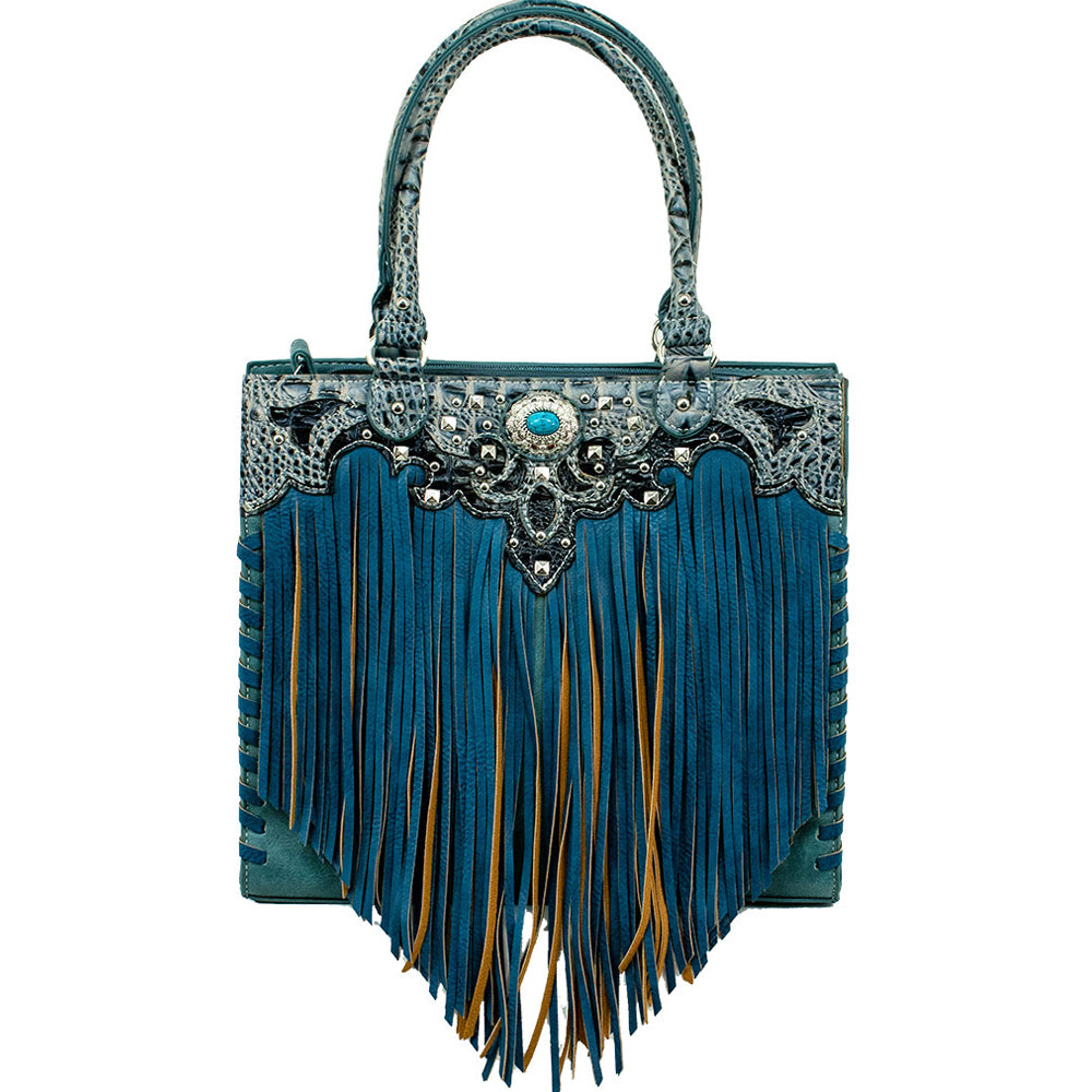 American West/Bandana Zip-Top Tote With Fringe Turquoise