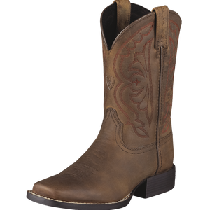 Ariat 6 Kids Quickdraw Western Boot Distressed Brown