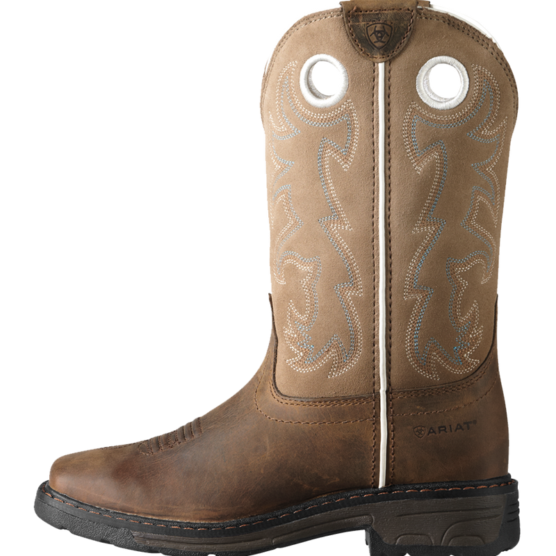 Ariat 1 Kids WorkHog Wide Square Toe Tall Boot Distressed Brown
