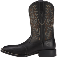 Ariat 8D Mens Sport Wide Square Toe Western Boot Black Deertan