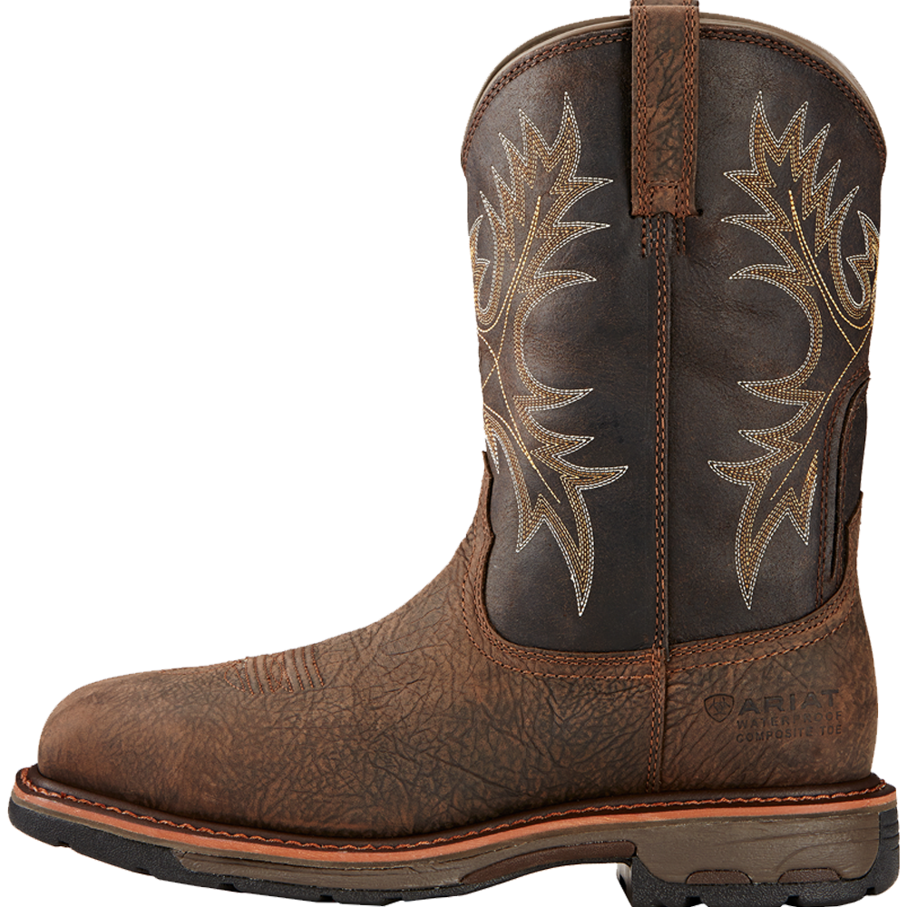 Ariat 14D Mens WorkHog Wide Square Toe Waterproof Composite Toe Work Boot Bruin Brown
