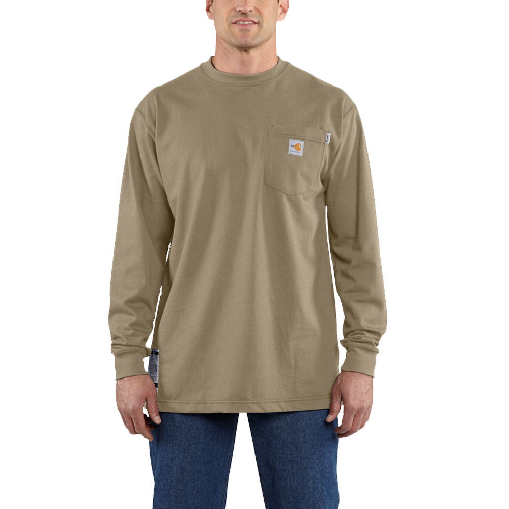 Carhartt 2XLarge Mens Flame-Resistant Force Cotton Long-Sleeve T-Shirt Khaki