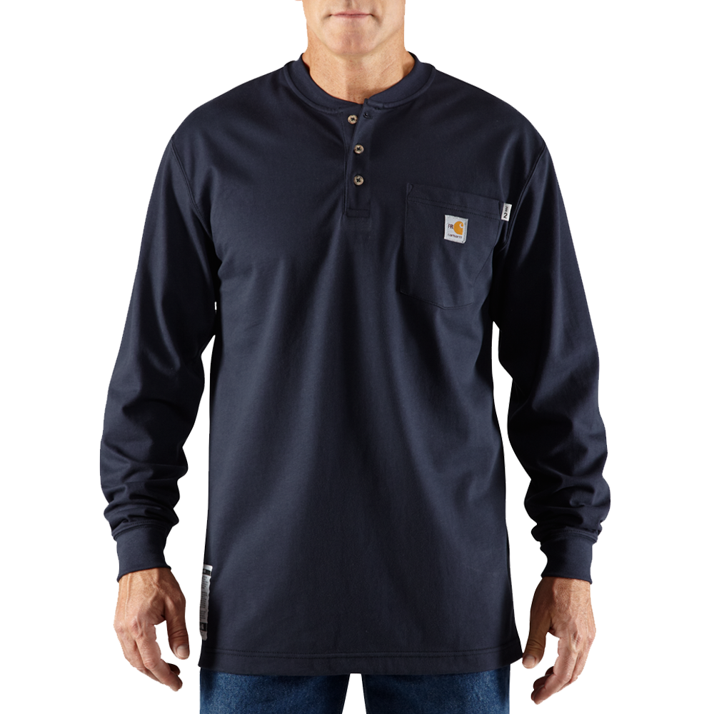 Carhartt Large Tall Mens Flame-Resistant Force Cotton Long-Sleeve Henley Dark Navy
