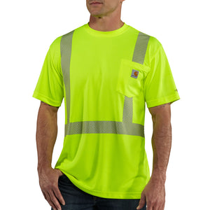Mens 3X-Large Tall Carhartt Force Hi-Visibility Short-Sleeve Class 2 T-Shirt Brite Lime