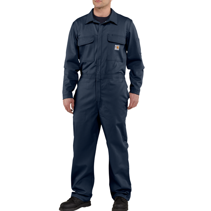 Carhartt 34-Regular Mens Flame-Resistant Traditional Twill Coverall Dark Navy