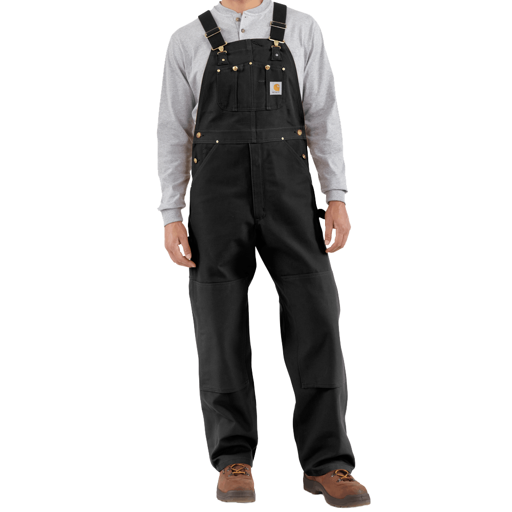 32x36 Unlined Duck Bib Overalls Black
