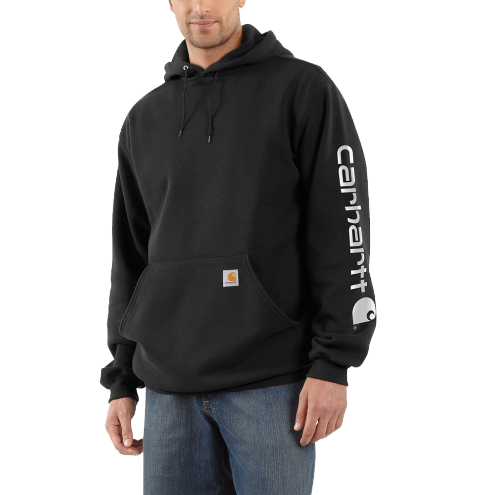 Carhartt XLarge Regular Mens Midweight Hooded Logo Sweatshirt Black