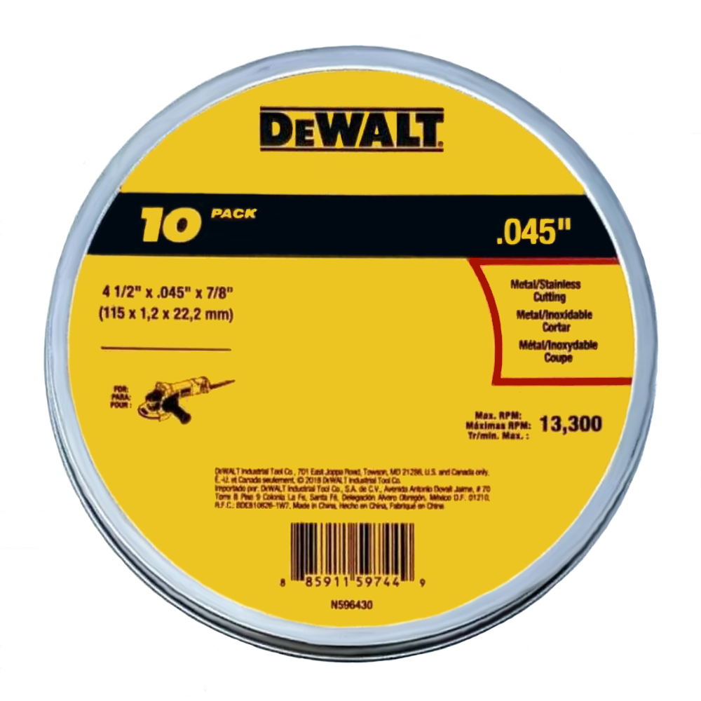 DeWalt 4-1/2 Inch x .045 Inch x 7/8 Inch Metal Cut-Off Wheel 10-Pack