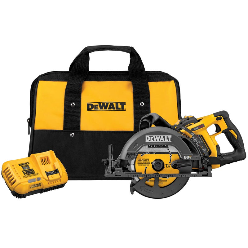 FlexVolt 60V MAX 7-1/4 Inch Cordless Worm Drive-Style Saw 9.0AH Battery Kit
