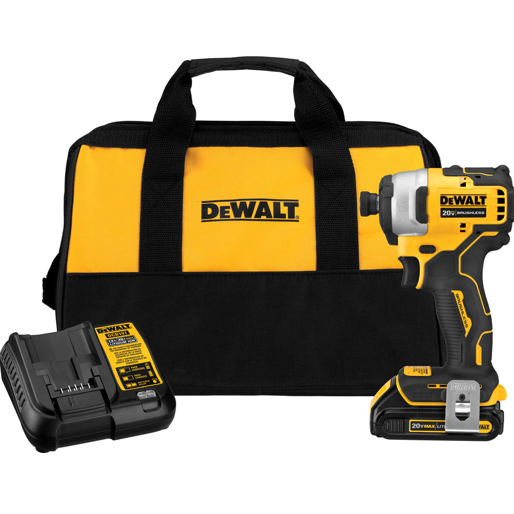 DeWalt 20V MAX Brushless Cordless Compact 1/4-Inch Impact Driver And Single Battery Kit DCF809C1