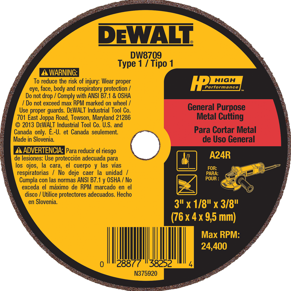 "DeWalt 3"" X 1/8"" X 3/8"" General Purpose Metal Cutting Wheel A24R"