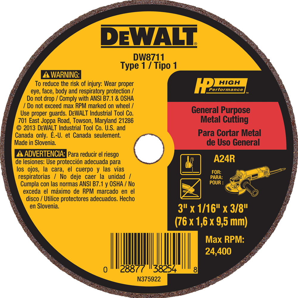 "DeWalt 3"" X 1/16"" X 3/8"" General Purpose Metal Cutting Wheel A60T"