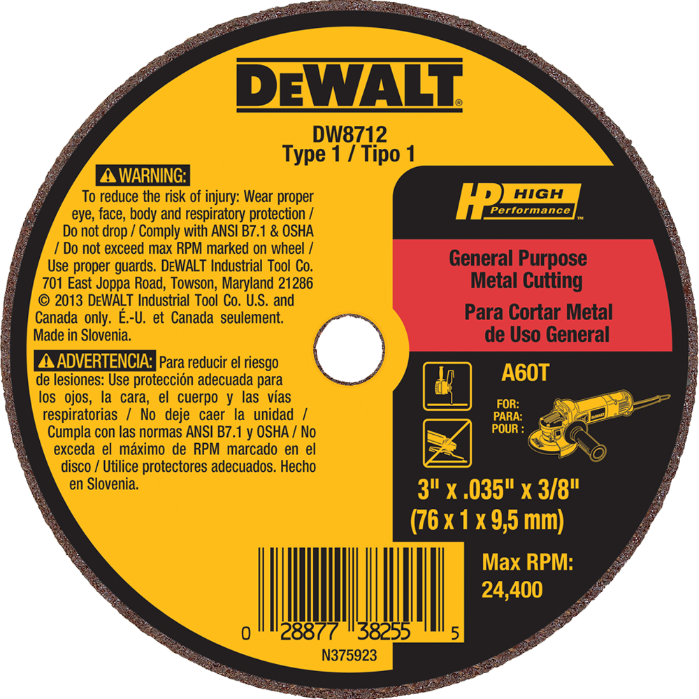 "DeWalt 3"" X .035"" X 3/8"" General Purpose metal Cutting Wheel A60T"