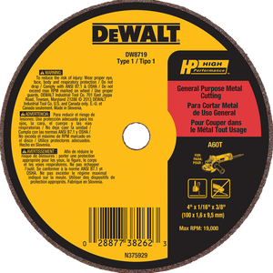 "DeWalt 4"" X 1/16"" X 3/8"" General Purpose Metal Cutting Wheel A60T"