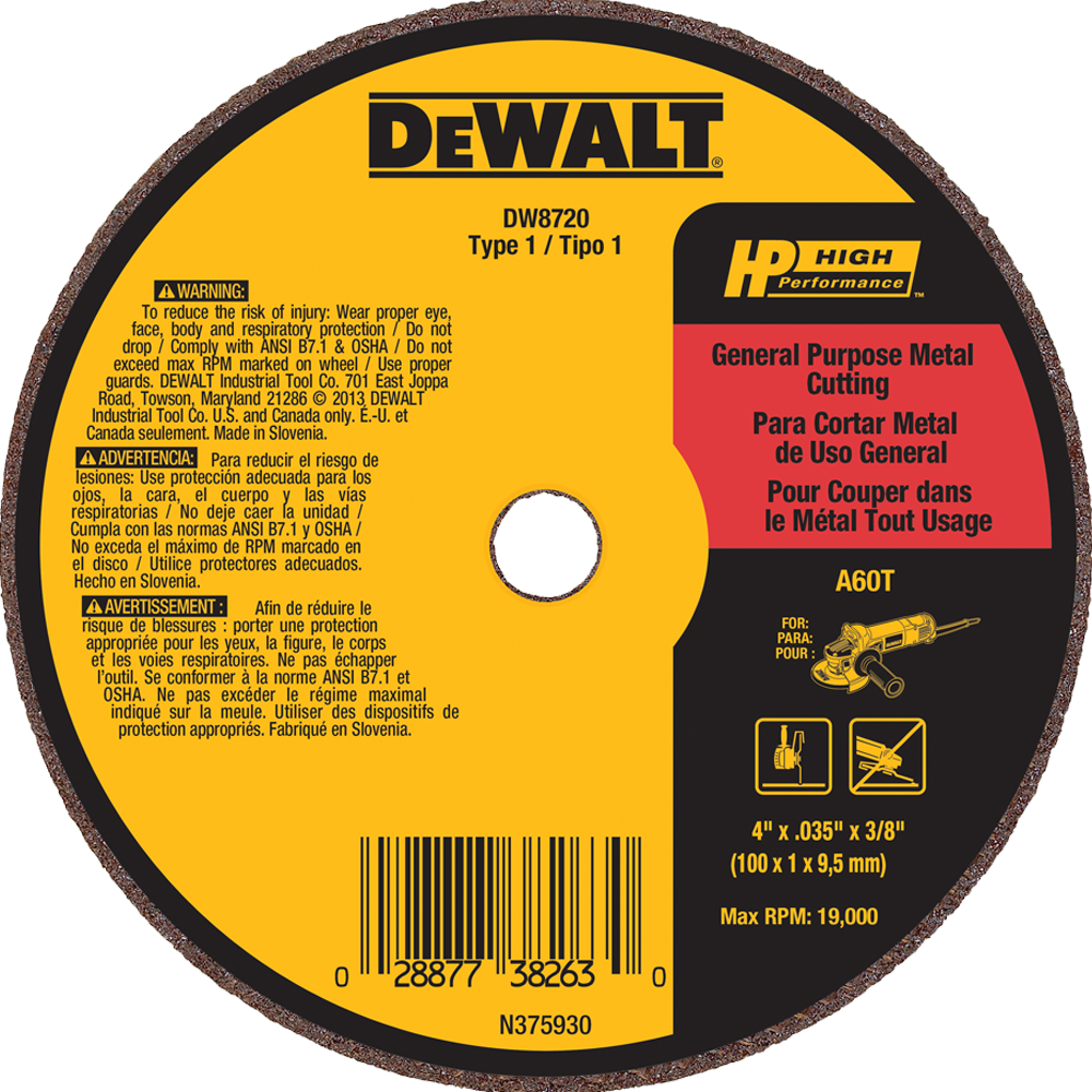 "DeWalt 4"" X .035"" X 3/8"" General Purpose Metal Cutting Wheel A60T"