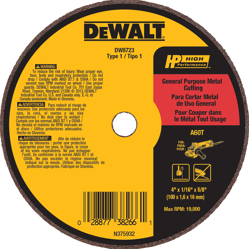 "DeWalt 4"" X 1/16"" X 5/8"" General Purpose Metal Cutting Wheel A60T"