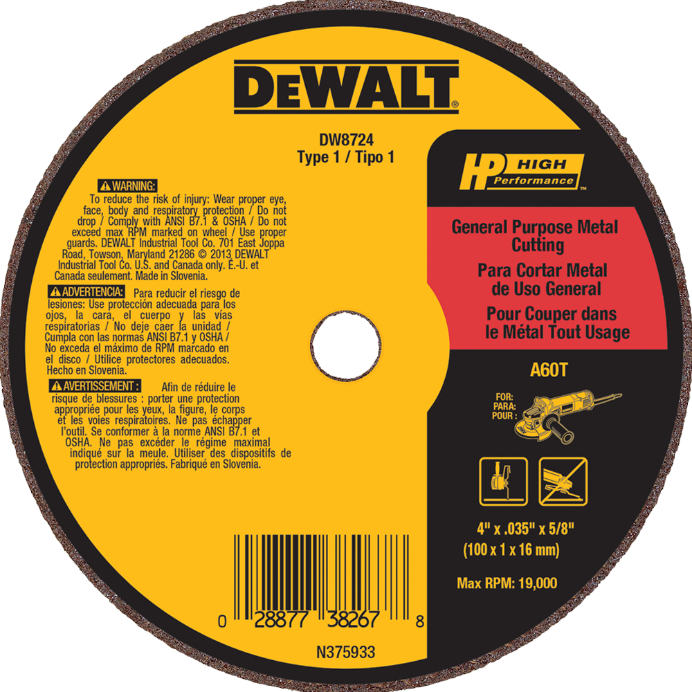 "DeWalt 4"" X .035"" X 5/8"" General Purpose Metal Cutting Wheel A60T"