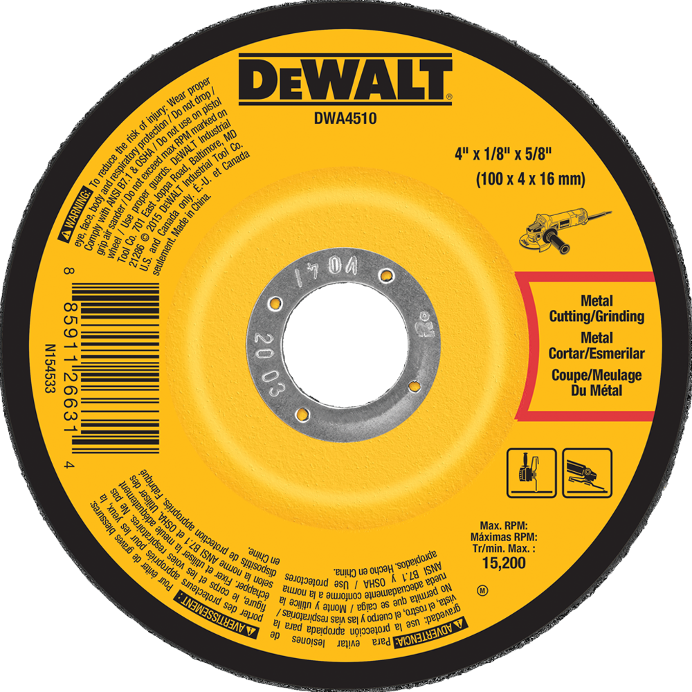 "DeWalt 4"" X1/8"" X5/8"" Metal Grinding Wheel Type 27"