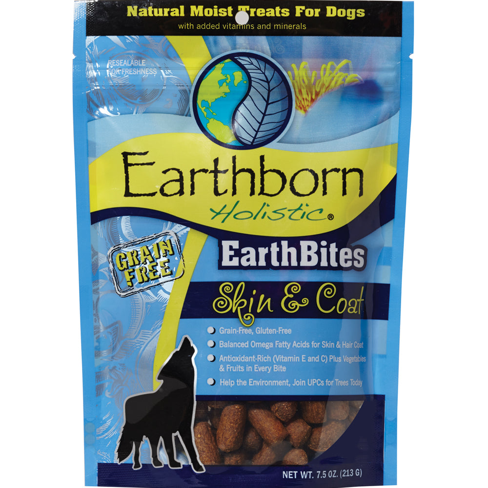 Earthborn Holistic EarthBites Grain-Free Skin & Coat Moist Treats For Dogs 7.5-oz