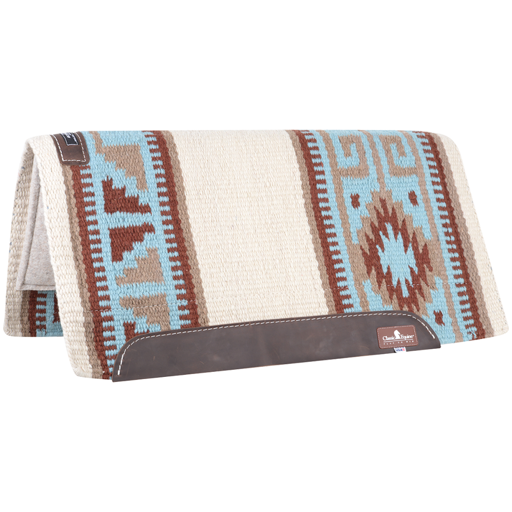 Equibrand Classic Wool Top Saddle Pad 32 in x 34 in Blue And Brown
