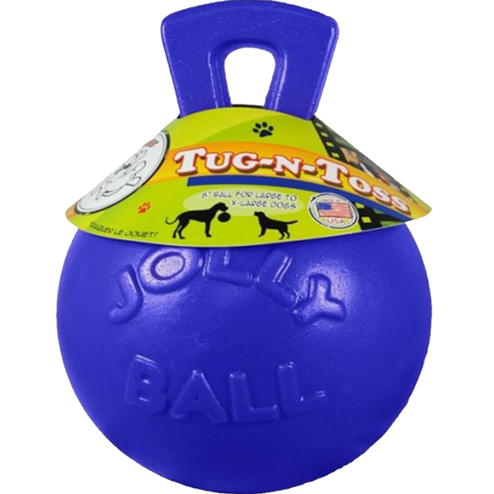 Jolly Pets Tug n Toss Ball Dog Toy Blue 8 Inch
