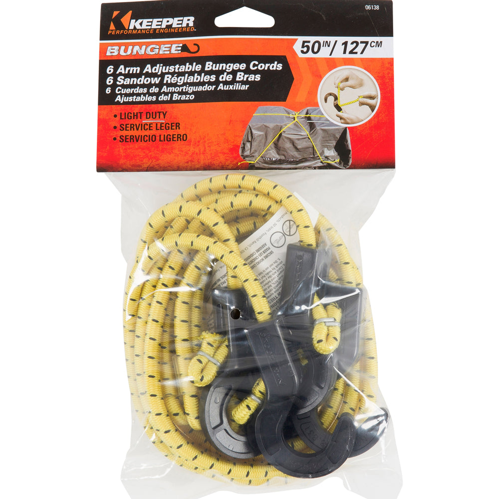 Keeper Corporation Adjustable 50-Inch 6-Arm ZipCord Bungee Cord