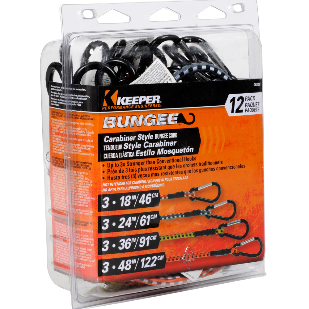Keeper Corporation Assorted Carabiner Bungee Cords 12-Pack