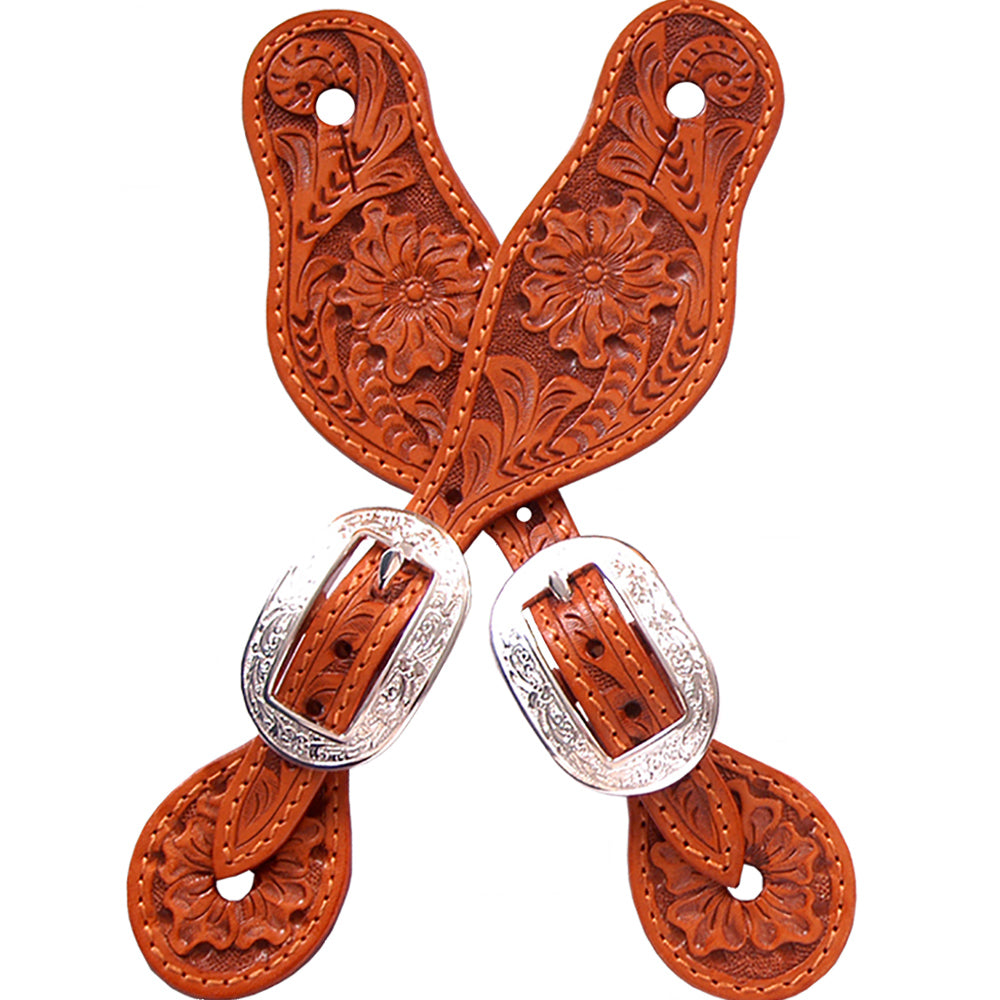 M And F Western Products Small Spur Straps Brown