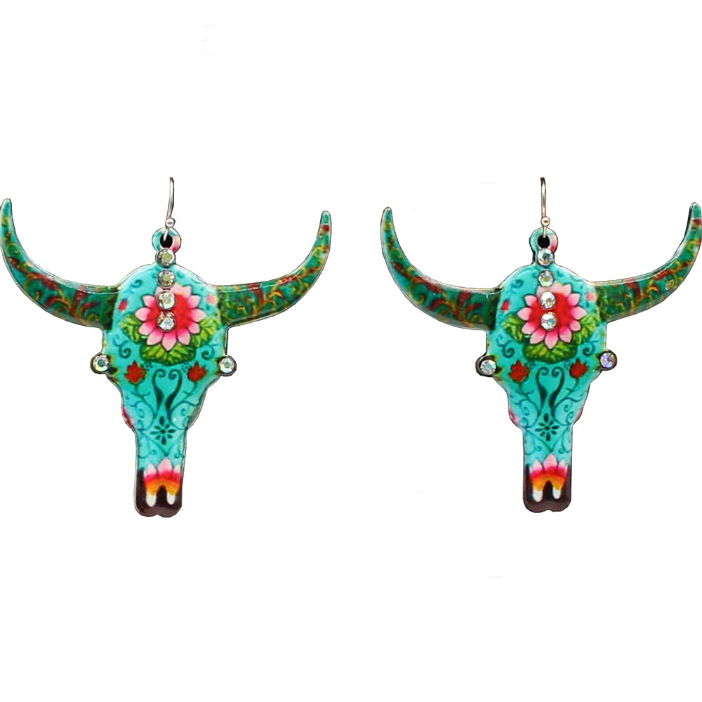 M And F Western Products Bull Skull Earrings Multi-Color