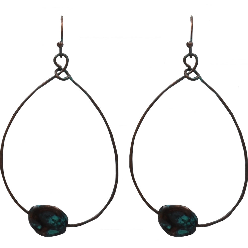 M And F Western Products Patina Loop Fish Hook Earrings