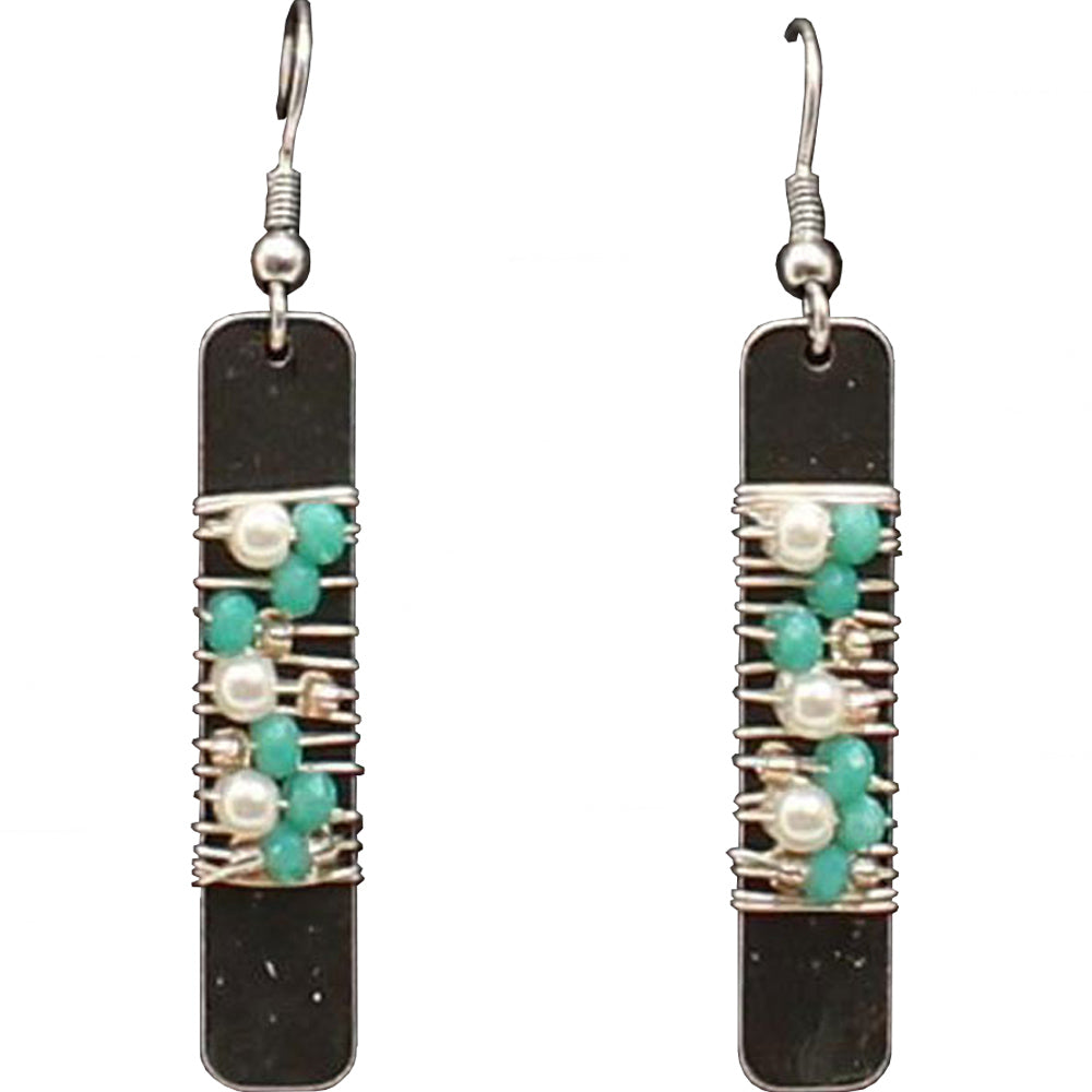 M And F Western Products Beaded Turquoise And White Rectangular Earrings