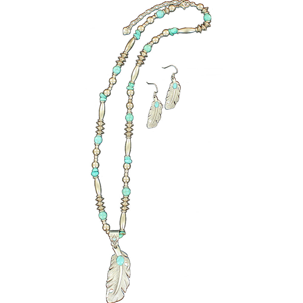 M And F Western Products Feathered Necklace And Earrings Turquoise