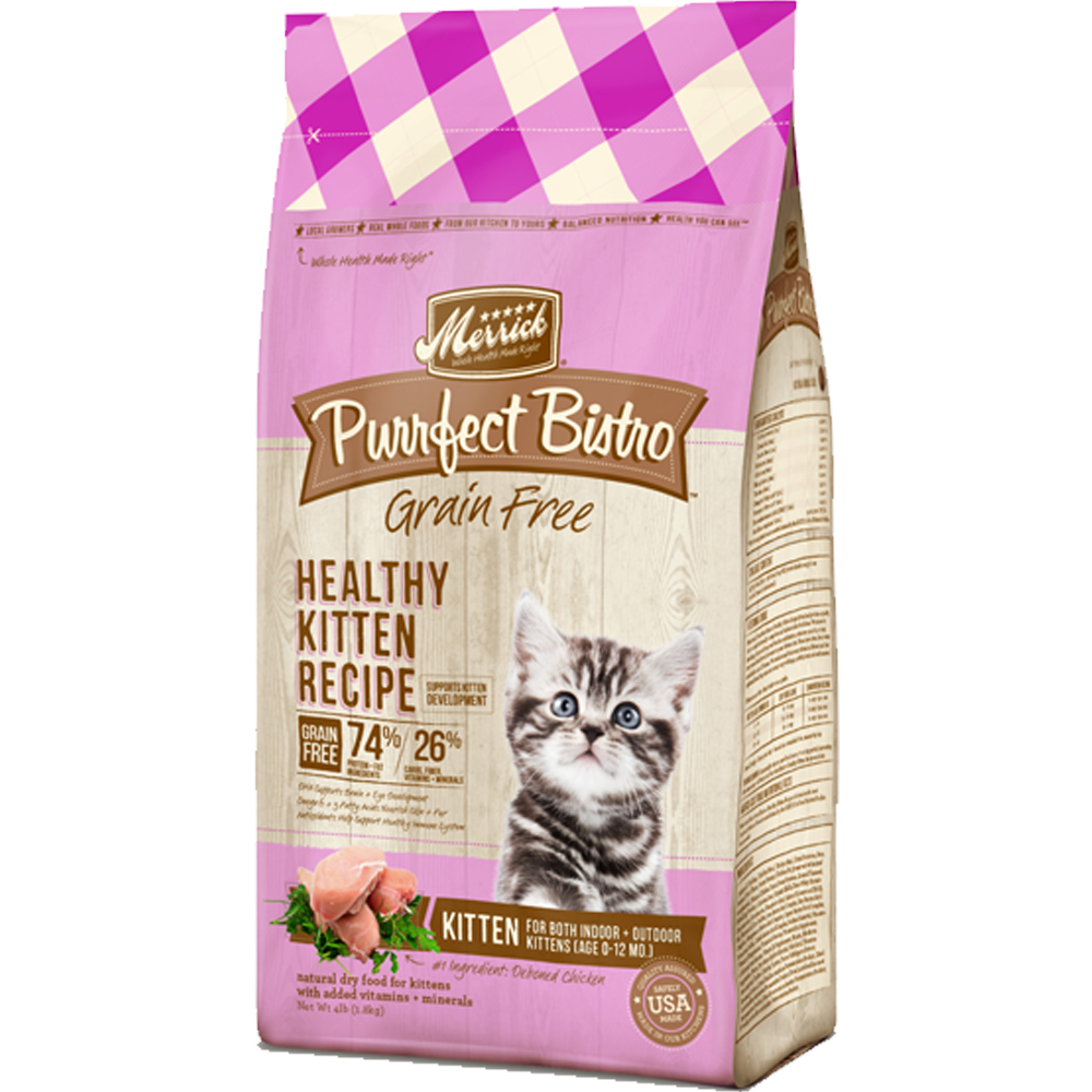 Merrick Purrfect Bistro Grain-Free Healthy Kitten Chicken Recipe 4 lb