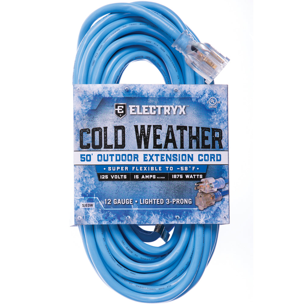 Electryx Blue 50-Foot 12-Gauge Cold Weather Outdoor Extension Cord