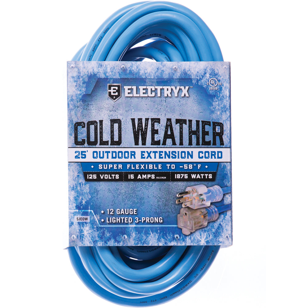 Electryx Blue  25-Foot 12-Gauge Cold Weather Outdoor Extension Cord